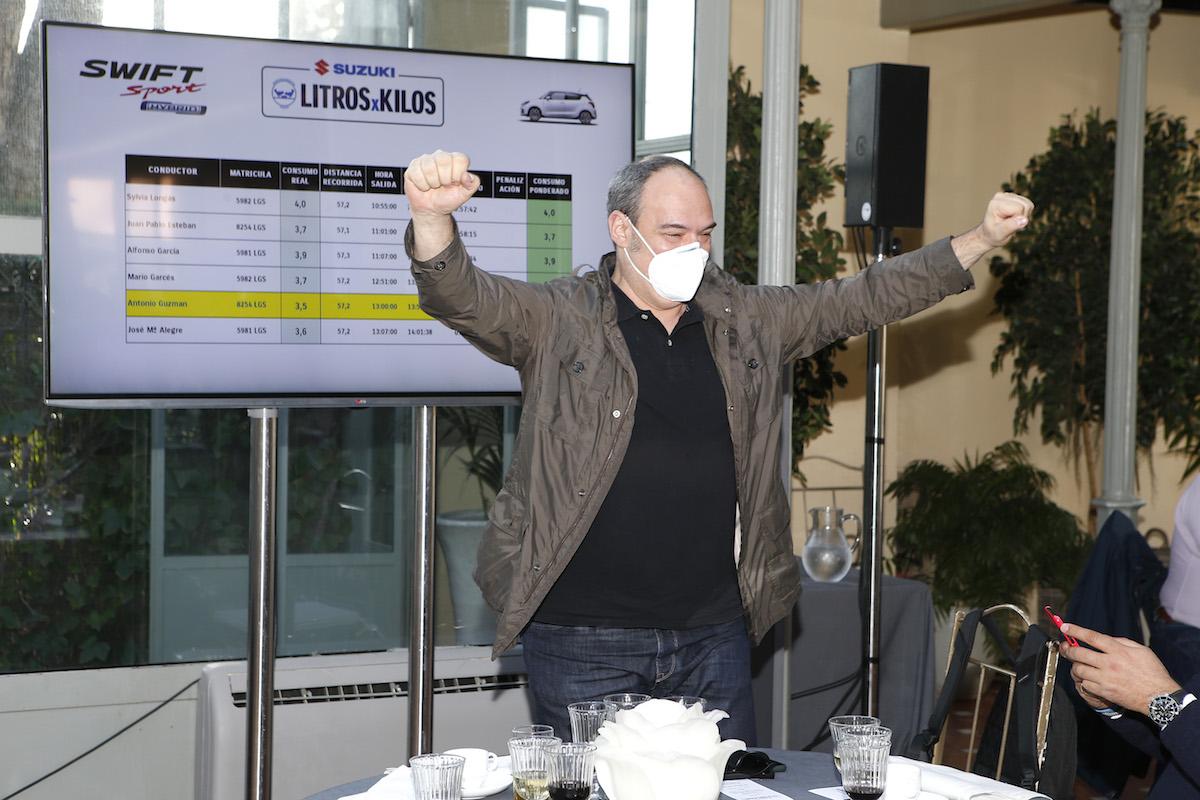 Antonio Guzmán, de revistadelmotor, ganador en el grupo del Swift Sport con un consumo medio de 3,5 litros
